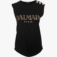 Balmain - Sleeveless gold-tone silkscreen logo cotton T-shirt - Women's tops
