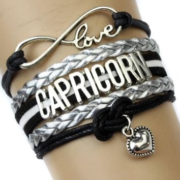 Infinity Love Capricorn Charm Heart Bracelet Twelve Constellations The Signs of the Zodiac Bracelet Black Silver