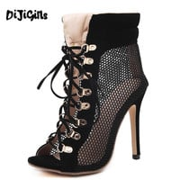 DiJiGirls Fashion Gladiator High Heels women Sandals ankle strap Stiletto Sandal Booties open toe Lace Up Pumps shoes woman Boot