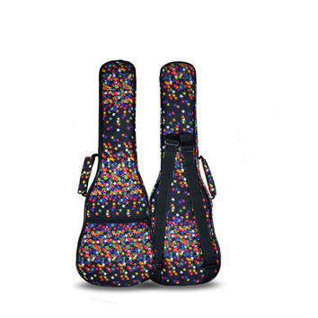 "Protable 23""24""inch concert ukulele case kid small bass guitar bag hawai soft gig cover padded backpack lanikai patterned pocket"