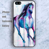 watercolor horse colorful iPhone 5/5S Ipod touch Silicone Rubber Case Phone cover Waterproof