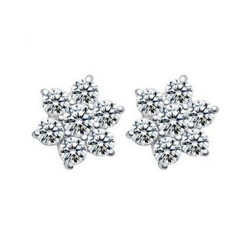 925 Sterling Silver Snowflake Stud Earrings