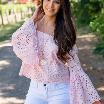 Together is Better Off Shoulder Eyelet Top Baby Pink