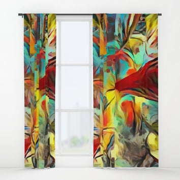 Red forest, colorful sky view, abstract warm artwork, red and yellow colors, nature themed pattern Window Curtains by Casemiro Arts - Peter Reiss
