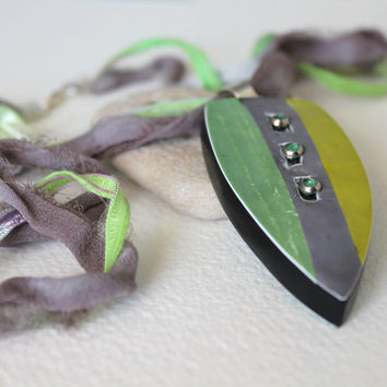 Reversible Double Sided Polymer Clay Pendant - Multi Strand Ribbon Necklace -  One Of A Kind Organic Jewelry - Gift For Her