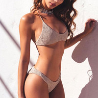 Plain Halter Bikini Brazilian Women Swimwear