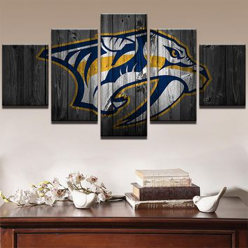 Canvas Painting Style Modular Pictures Home Decor 5 Panels Wall Art Rugby Sports American Football Tigers Photo HD Print PENGDA