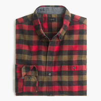 J.Crew Mens Cotton-Wool Elbow-Patch Shirt In Warm Red Tattersall