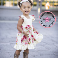 Vintage Fun & Funky -Rambling Rose Collection- Girls Nadia Ruffle Dress infants toddlers, girls 12m, 18m, 24m 3, 4, 5,6,7, and 8