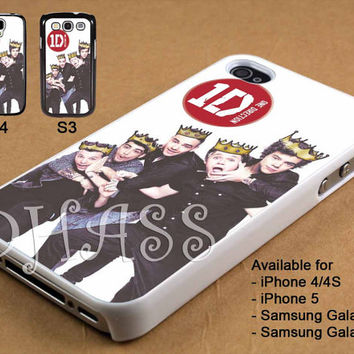 Funny One Direction Personil with Crown Design for iPhone 4/4s/5 Case, Samsung Galaxy S3/S4 Case