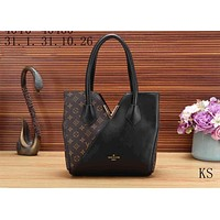LV Louis Vuitton Stylish Women V Type Leather Shoulder Bag Handbag Black I-KSPJ-BBDL