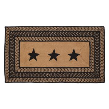 Farmhouse Jute - Stencil Stars - Braided Rectangle - Country Black & Tan - 27 x 48 - Rug