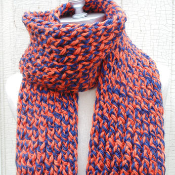 Blue and Orange Chunky Knit Scarf, Team Colors, Fall Scarf, Autumn Fashion Great Big Scarf