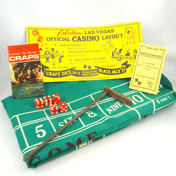 Vintage Las Vegas Casino Official Regulation Size Felt Table Top Craps and Blackjack Game Set