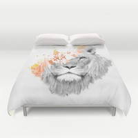 If I roar (The King Lion) Duvet Cover by Budi Satria Kwan