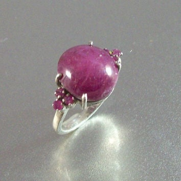 Vintage Sterling Star Ruby Ring, Size 7.5
