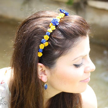 Blue and yellow flower hair band, Flower hair band, Floral headband