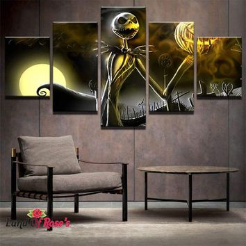 5 Pieces HD Printed Nightmare Before Christmas Painting