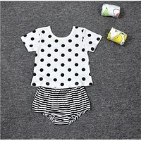 2016 New fashion cotton summer baby girls clothing sets children girls cute suits babies top+pant 2pcs set infant clothes