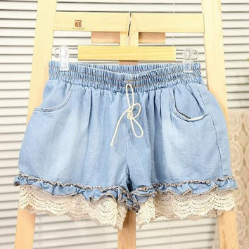 Girl Elastic High Waist Denim Shorts Women Cute Loose Short Pant Lady Stretch Lace Crochet Cut-Off Jeans