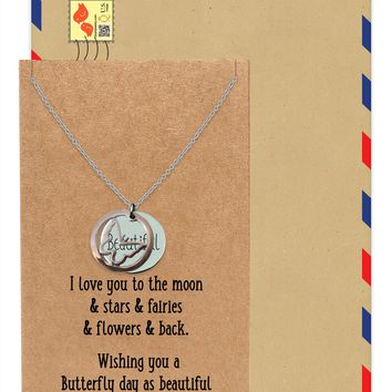 Irish Butterfly with Beautiful on Plate Pendant Necklace, Inspirational Jewelry and Greeting Card