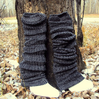 KNIT LEGWARMER Boot Cuffs Leg Warmers Knit Boot Socks Salt & Pepper Men Women Winter Accessories Gift Ideas Under 20