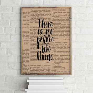 Dictionary Print Vintage Book Page Art Upcycled Vintage Book Art There Is No Place Like Home Eye Chart Wizard Of Oz Printable quotes