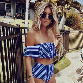 Blue Striped Off Shoulder High Waist Two-Piece Swimsuit