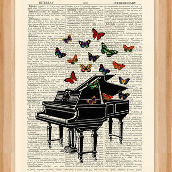 Vintage Piano Illustration with Butterflies - vintage image printed on a page from an early 1900s Dictionary Buy 3 get 1 FREE