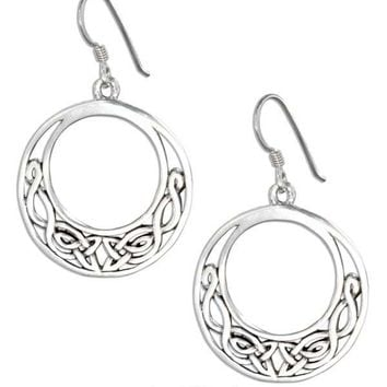 Sterling Silver Offset Open Circle Celtic Knot Earrings