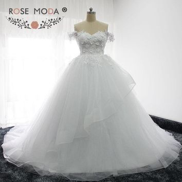 Rose Moda Off Shoulder Princess Puffy Wedding Dress 3D Flowers Lace Corset Turkey Wedding Ball Gown 2017
