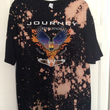 Journey Hand bleached tie dyed shirt soft grunge