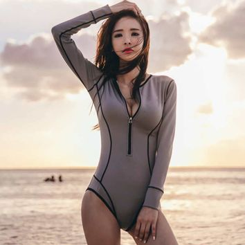 One Piece Rash Guard 2017 Solid Swimwear Patchowrk Diving Suits Long Sleeves Rashguards Zipper Surf Bodysuits High Neck Wetsuits