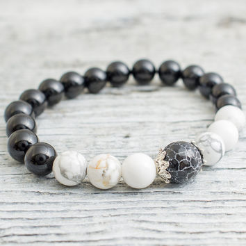 Black onyx and white howlite beaded stretchy bracelet with a crackled black agate, mens bracelet, womens bracelet