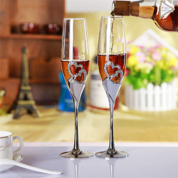 Champagne Crystal Silver Plated Toasting Flutes