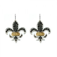 1/2ct tw Diamond Fleur de Lis Earrings in Sterling Silver Designer Earring Collection Street Jazz - Fashion - Diamond Earrings - Jewelry & Gifts