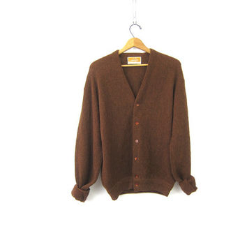 70s Brown Cardigan Sweater Button Down Sweater Jantzen Grandpa Sweater Button Up Boyfriend Minimal Preppy Sweater Mens Size XL
