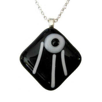 A Petite Fused Glass Necklace Classic Black by mysassyglass