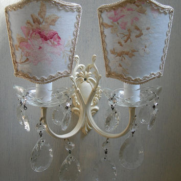 Vintage Italian Painted Bronze 2 Arm Crystal Wall Sconce with French Floral Shabby Chic Clip On Lamp Shades - Handmade in Italy