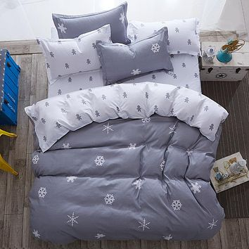 Pattern snowflake and Stripe style  4pcs or 3pc Bedding sets Cotton bed sheet +duvet cover + pillow case bedclothes