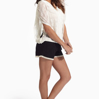 Black Lace Crochet Tassel Trim Shorts