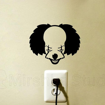 Pennywise Fabric Wall Sticker - Clown Macbook Decal - Horror Movie Laptop Sticker - IT iPad Decal - Cool Wall Decor - Bumper Stickers