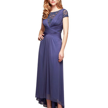Alex Evenings Banded Lace High Low Gown