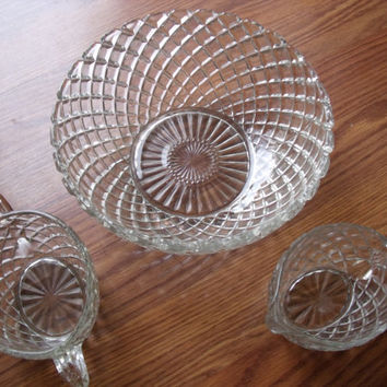 Depression Glass WATERFORD Or WAFFLE Crystal Bowl Creamer And Sugar Hocking Glass Company