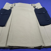 Black Detachable Pockets Utility Kilt Custom Made
