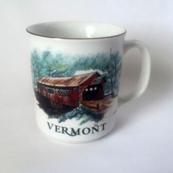 Vermont Covered Bridge Mug New England Scenery Nature Landscape Coffee Cup Vintage 1986