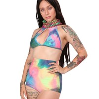 Tie Dye Print Black Light Reactive Keyhole Halter