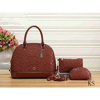 Coach Popular Women Shopping Bag Leather Handbag Shoulder Bag Crossbody Satchel Three Piece Set Brown I-KSPJ-BBDL