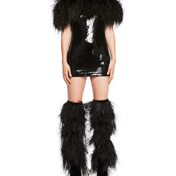 Saint Laurent Feather-Trim Off-Shoulder Sequin Mini Dress