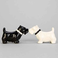 Kissing Puppies Salt + Pepper Shaker Set- Black & White One